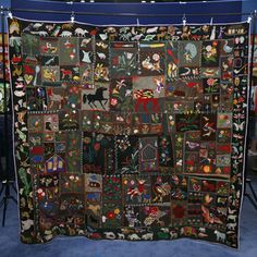 Animal Crazy Quilt, ca. 1900.  Done on wool background with the needlework done in wool also.  Appraised on Antiques Roadshow for $10,000