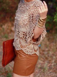Fabulous Crochet a Little Black Crochet Dress Ideas. Georgeous Crochet a Little Black Crochet Dress Ideas. Crochet Shirt, Crochet Jacket, Knit Crochet, Crochet Tops, Crochet Designs, Crochet Patterns, Mode Crochet, Black Crochet Dress, Crochet Woman