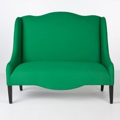 *Emerald green settee from southofmarket - Emerald, Jade, or Kelly Green. In this case, a color I consider difficult does a big favor for a staid settee. It proved equally successful as draperies in a much-admired gray dining room by Kay Douglass which first appeared in Veranda last fall.