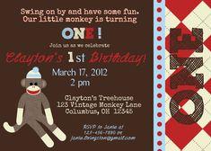 794841be41 Sock Monkey Birthday Party Invitations Sock Monkey Birthday