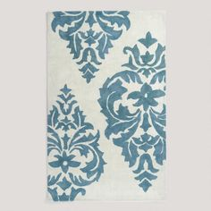 One of my favorite discoveries at WorldMarket.com: 5'x8' Blue Damask Hand-Painted Rug