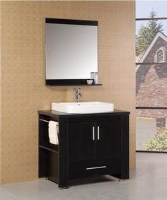"Parsons 36"" Single Modern Bathroom Vanity Set with Mirror"