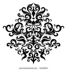 Symmetrical floral graphics. Vector illustration.