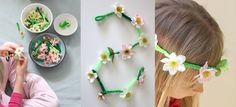 Daisy Chain Crown & Necklace using pipecleaners and fake flowers -- but I think you could use real (on AlphaMom)