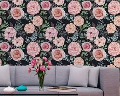 rose patterned peel and stick wallpaper Nursery Wallpaper, Diy Wallpaper, Self Adhesive Wallpaper, Peel And Stick Wallpaper, Designer Wallpaper, Pattern Wallpaper, Best Removable Wallpaper, Temporary Wallpaper, Preparing The Nursery