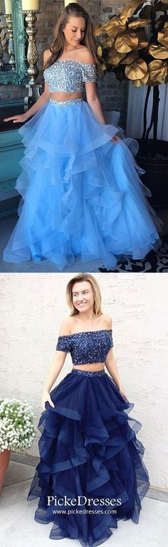Blue Prom Dresses Long, Two Piece Evening Dresses With Sleeves, A Line Pageant Dresses Off-the-shoulder, Sparkly Graduation Dresses With Beading #pickedresses #bluedresses #twopiecedress #dresswithsleeves