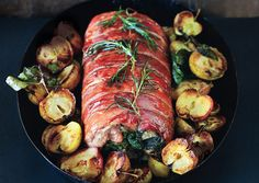 Prosciutto-Wrapped Pork Loin with Roasted Apples- Made this for a birthday dinner.. was delish!