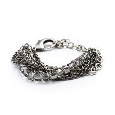 Crystalline Silver Chain Cuff Bracelet