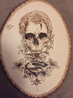 Superman Skull Wood Burn. Done by hand.