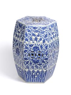A Chinese Blue and White Export Porcelain Hexagonal Garden Seat Barrel, late 19th century - See more at: http://www.tennants.co.uk/Catalogue/Sale40/page3.aspx#sthash.ecqOtVWg.dpuf