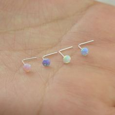 opal nose ring,sterling silver nose ring,opal L shaped nose ring,bestfriend gift