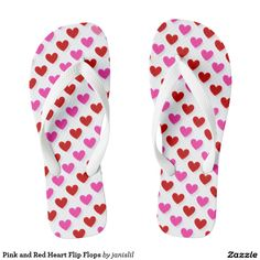 Pink and Red Heart Flip Flops