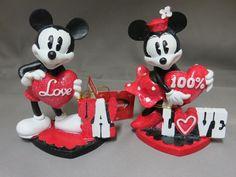New Disney Mickey Minnie Mouse Valentine's Day Figurine Set Love Gift Hearts  #Disney