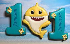Jameson's favorite Baby Shark doo doo doo Shark Birthday Cakes, Baby Boy 1st Birthday Party, Birthday Cookies, 1st Boy Birthday, Valentine Cookies, Shark Party Decorations, Shark Cookies, Baby Shark Doo Doo, Custom Cookies