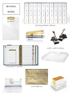 Acrylic and gold office supplies. Love!