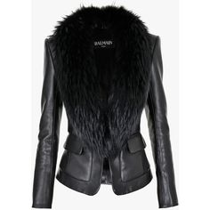Balmain Fur-trimmed leather blazer ($5,750) ❤ liked on Polyvore featuring outerwear, jackets, blazers, coats, balmain, leather jacket, genuine leather jacket, cropped black blazer, black leather jacket and cropped leather jacket