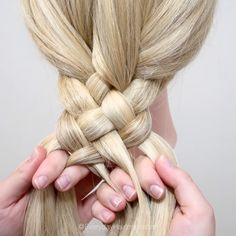 Braided Hairstyles For Teens, Up Hairstyles, Braided Hairstyles Tutorials, Front Hair Styles, Medium Hair Styles, Hair Style Vedio, 5 Strand Braids, Braids For Long Hair, Hair Videos