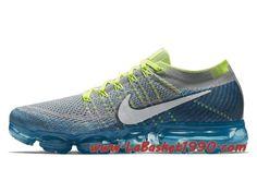 97c9be2179428 Nike Air Vapormax Flyknit Sprite Chaussures Nike Vapormax Pas Cher Pour  Homme Bleu Gris 849558-