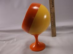 Makeup Mirror Vintage Ball Bright Yellow And Orange Orb Space Age Mid Century Kitsch 70's