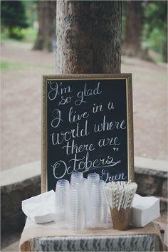 cute chalkboard wedding sign for October weddings