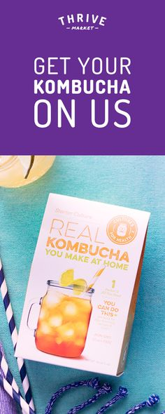 Get the best make-at-home kombucha kit for FREE at Thrive Market! On a mission to make healthy living easy and affordable for everyone, Thrive Market offers premium, organic foods and healthy products up to 50% off every day with delivery right to your door. Get your FREE kombucha kit today while supplies last, and start saving! Kombucha Tea, Smoothie Drinks, Smoothies, Free Stuff, Healthy Choices, Kefir, Healthy Drinks, Healthy Snacks, Healthy Recipes