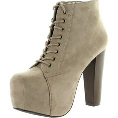 Speed Limit 98 Womens Rosa Chunky High Heel Lace Up Ankle Boot Bootie... ($37) ❤ liked on Polyvore featuring shoes, boots, ankle booties, suede wedge booties, lace up flats, lace up high heel booties, taupe wedge booties and ankle boots