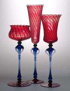 Goblet Trio - El Diablo, 2009, by Robert Mickelsen. Lampworked borosilicate glass, sculpted, blown.