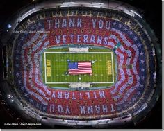 Those who attended the game said it was extremely emotional to see the entire bowl of the stadium turn red, white and blue. It took 90 workers two weeks to get all of the colored pages mounted under each seat. Each piece of card board had eye slits in them so the fans could hold up the colored sheet and watch the game through the eye slits.    Monday night 11/14/2011   Lambeau Field