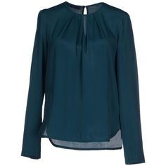 Blue Les Copains Blouse ($134) ❤ liked on Polyvore featuring tops, blouses, deep jade, long sleeve tops, pleated top, long sleeve blouse, blue blouse and pleated blouse