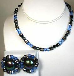 Blue Glass Black Bead Rhinestone Vintage Necklace Clip Earring Set | eBay
