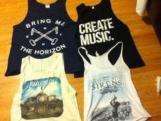 Brine me the horizon, pierce the veil, and sleeping with sirens tank top shirts :)