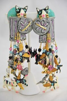 RARE VINTAGE LATR LUNCH AT THE RITZ LOADED CAT DOG GARBAGE PAIL FISH EARRINGS  #LUNCHATTHERITZ