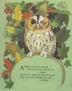 Owl Nursery rhyme print oak tree autumn leaves nursery decor kids bedroom. $9.95, via Etsy.