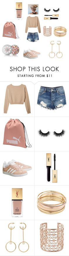 """mornig pink"" by missharley-quinnzp ❤ liked on Polyvore featuring Free People, Puma, Artémes, adidas, Yves Saint Laurent, Mudd, Chloé, Co.Ro and Guerlain"