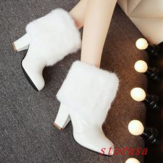 England Women Lady Mid Heel Fur Trim Ankle Bootie Boots Hollow Casual Snow Boots