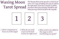 Waxing Moon tarot spread . Escapingstars.wordpress.com