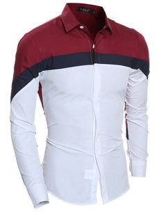 Cheap chemise homme, Buy Quality shirt casual slim directly from China men shirt long sleeve Suppliers: Men Shirts Long Sleeve Autumn New Contrast Color Red White Stitching Camisa Hombre Men Shirt Casual Slim Fit Chemise Homme Cheap Long Sleeve Shirts, Long Sleeve Shirt Dress, Mens Designer Shirts, Designer Clothes For Men, Slim Fit Dress Shirts, Fitted Dress Shirts, Fashion Casual, Men Casual, Casual Jeans