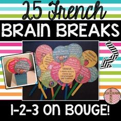 This product includes 25 French Brain Breaks that you can use with your class when you think they are in need of a short break or during your DPA program. Each brain break takes on average two minutes to complete. You may choose to use this with your Teaching French, Teaching Spanish, Class Activities, Classroom Activities, Spanish Activities, French Flashcards, French Language Learning, Spanish Language, Behavior Management