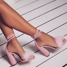 High Heels Shoes - 'Vision' Lace Up Fluffy Heels Cute Heels, Lace Up Heels, Pumps Heels, Stiletto Heels, Heeled Sandals, Shoes High Heels, Pink High Heels, Black Shoes, Spring Shoes