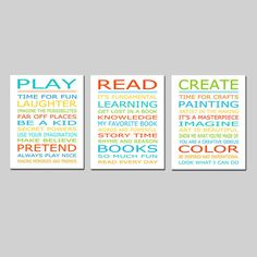 Playroom Rules PLAY READ CREATE Set  Kids Wall Art Trio by Tessyla