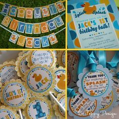Rubber Duck Birthday Party Ideas: Rubber Duck Party banner, cupcake toppers, door sign