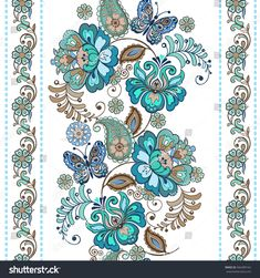 Striped Pattern Flowers Fantastic Floral Seamless Stock Vector (Royalty Free) 566389162