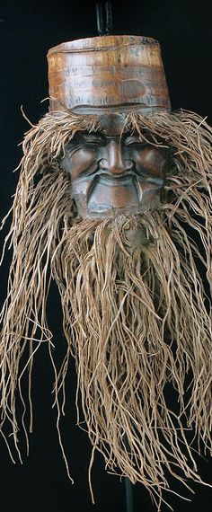 Chinese Mask carved out of bamboo root, decorative