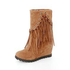 [CyberMondaySale]damesko runde tå kilehæl flocking ankelstøvler med kvast flere farver – DKK kr. 193