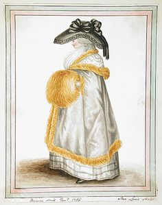 Fur trimmed capes and over-sized muffs were the winter fashion uniform of the 1780s.