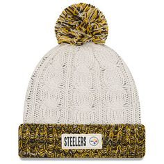Women s Pittsburgh Steelers New Era Cream Rugged Tag Cuffed Knit Hat with  Pom Nfl 5006b881517b