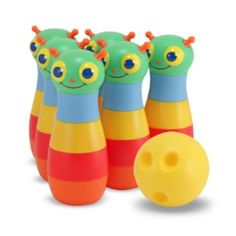 Melissa & Doug Sunny Patch Happy Giddy Bowling Set With 6 Pins, Bowling Ball & Storage Bag Mini Bowling, Bowling Pins, Bowling Ball, Ball Storage, Melissa & Doug, Gross Motor Skills, Outdoor Toys, Outdoor Play, Outdoor Bowling
