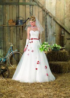 Venta de vestidos de novia blanco con rojo