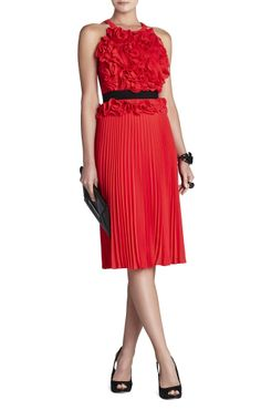 Red Ruffle and Pleated Dress.