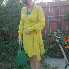 Gorgeous and stylish dress. This dress by DVF is gorgeous and only been worn twice. It's 100% wool. Made in USA.  It's hard to tell exactly what color it is. Some say it's mustard color and others say it's lemon/lime. It's absolutely stunning and in mint condition!!!  I can provide more pix  Price is firm! Diane von Furstenberg Dresses Long Sleeve